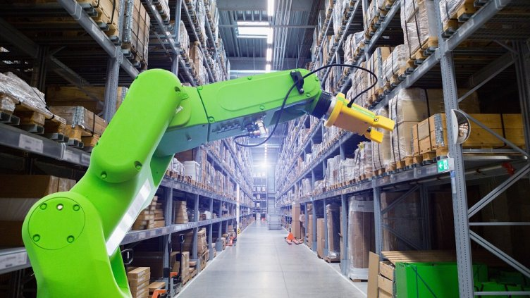 Roboric arm in warehouse; Shutterstock ID 1078888157; Departmental Cost Code : 162800; Project Code: GBLMKT; PO Number: g; Other:
